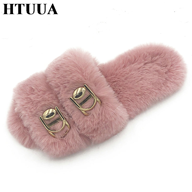 HTUUA Fashion Fluffy Fur Slippers Women Black White Pink