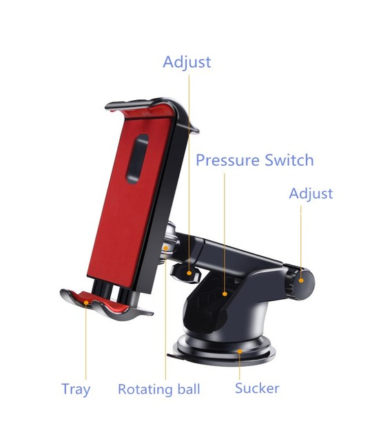 Car Phones Tablets holder for Samsung Honor IPAD pro air mini 1234 7 8 GPS 360Degree adjustable Mobile suction cup bracket stand 4
