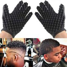 hot deal buy magic curl hair sponge gloves for barbers wave twist brush gloves styling tool for curly hair styling care high quality