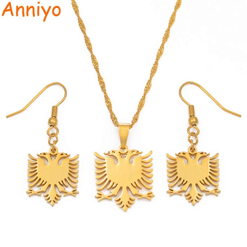 Anniyo SMALL Albania Eagle Necklaces Earrings Sets Gold Color & Stainless Steel Jewelry Ethnic Gifts for Women Girls #074921