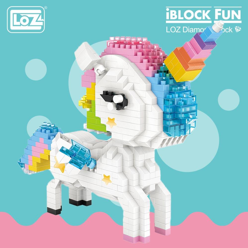 LOZ Diamond Blocks Rainbow Anime Action Figure Cartoon Colorful Animals Educational Bricks Toys For Children DIY 9204