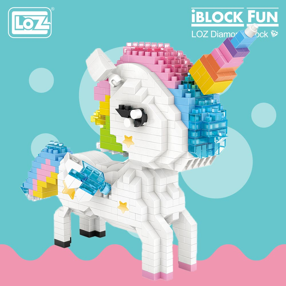 LOZ Diamond Blocks Rainbow Unicorn Anime Action Figure Cartoon Colorful Animals Educational Bricks Toys for Children DIY 9204 цена