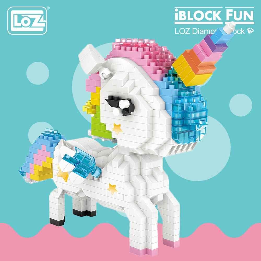 LOZ алмазные блоки Радуга Единорог аниме фигурка мультфильм красочные животные развивающие Кирпичи игрушки для детей DIY 9204