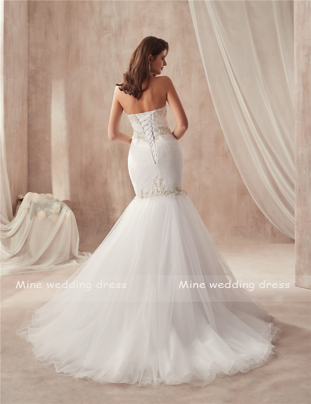 Image 4 - vestido de festa de casamento Strapless Ruched Tulle Slim Sexy Mermaid Wedding Dress with Silver Lace Applique Bridal Gowns-in Wedding Dresses from Weddings & Events