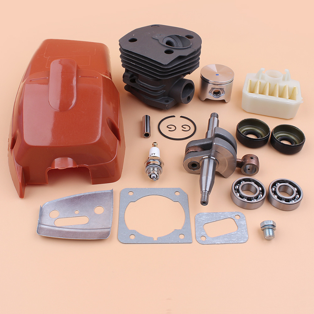 44mm Cylinder Cover Piston Crankshaft Crank Bearing Oil Seal Kit for Husqvarna 350 340 345 Chainsaw Engine Motor Rebuild Parts