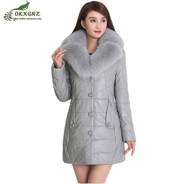Musim dingin baru hangat jaket coat wanita sedang panjang besar ukuran  kulit Pakaian Luar penebalan lady f4c481efdb