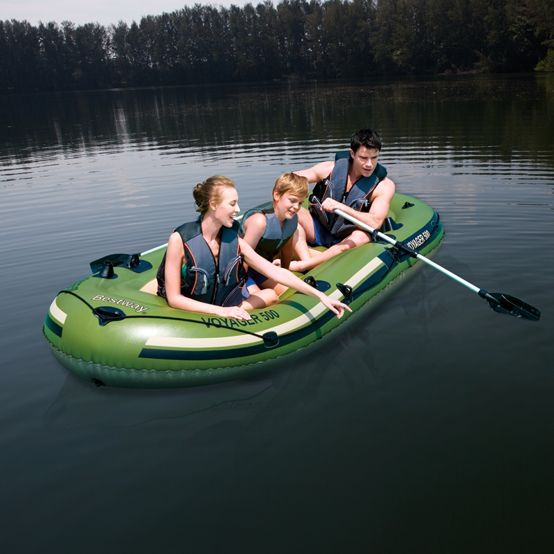 Brave 11ft Long 3 Person Inflatable Boat Kayak Voyager Sea River Fishing Boat Water Toys Pool Fun Raft Navy Green With 2 Paddle
