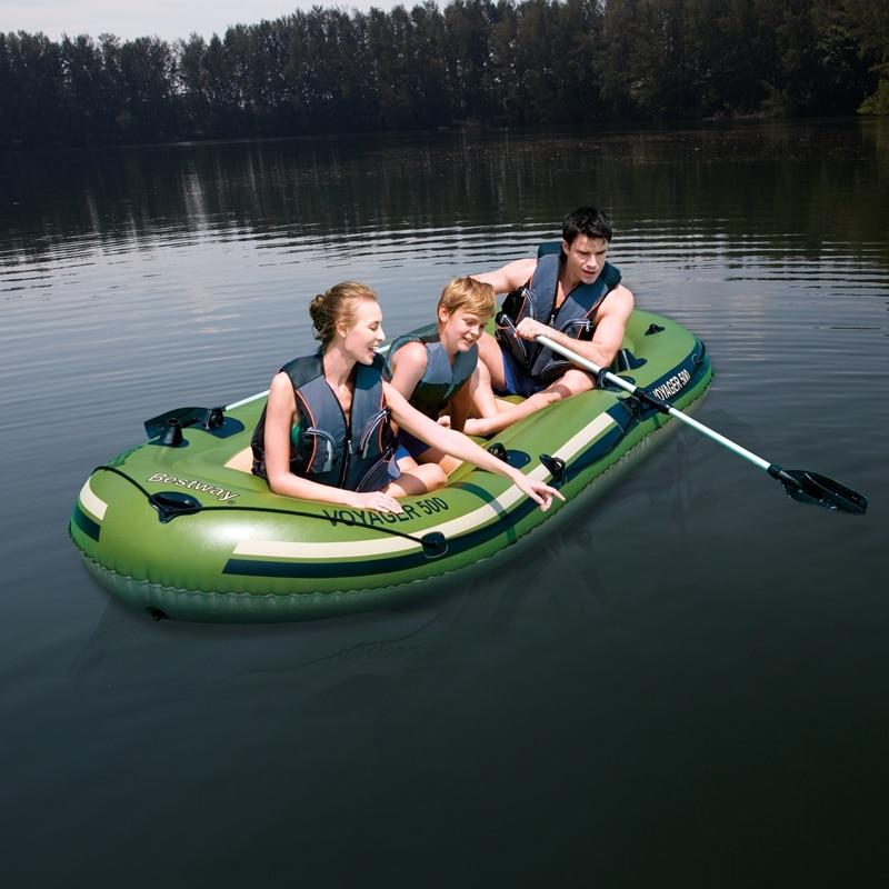 11ft Long 3 personne bateau gonflable Kayak Voyager mer rivière bateau de pêche eau jouets piscine Fun radeau bleu marine vert avec 2 pagaie