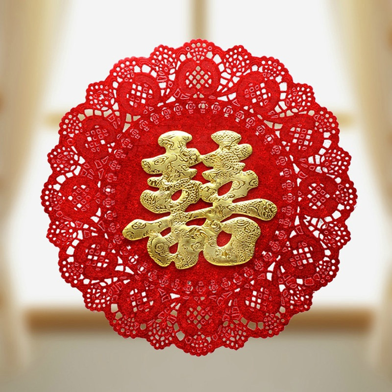 Wedding Supplies Creative Double Happiness Exquisite Lace Hollow 3D Paper-cut for Window Decoration Marriage Room Wall Stickers