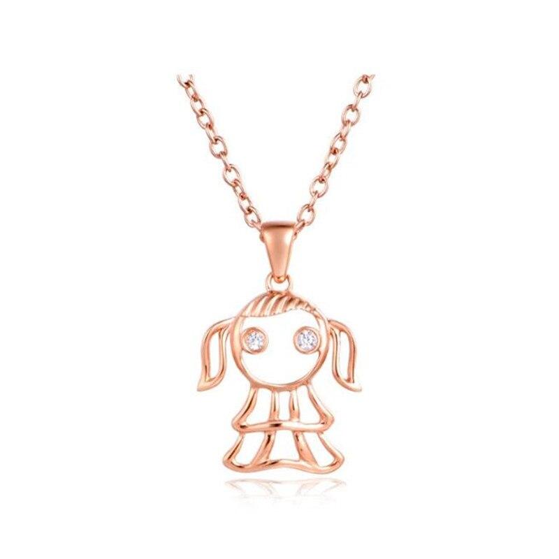 2018 18 K or nouvelle mode filles enfants cadeau de noël bijoux vierge petite fille pendentif sans chaîne courte collier livraison directe