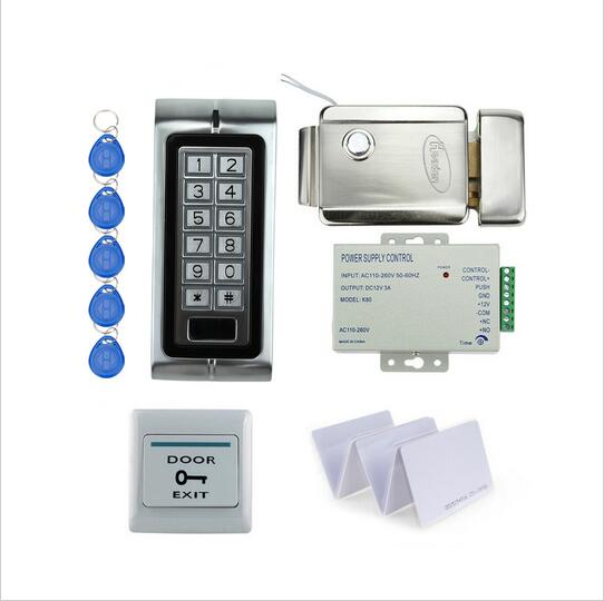 outdoor intercom 125KHz Rfid Access Control System Full Kit Set + Electronic Door Lock + Power Supply + Exit Button+20pcs tags