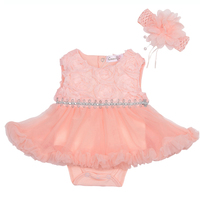 Gooulfi First Birthday Girl Party Newborn Dress Baby Girl Summer Solid Floral Sleeveless Clothes Birthday Baby Tutu Dress