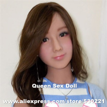 NEW NEW Top quality #62 Tan skin sex doll head for silicone adult dolls, chinese love dolls head with oral sex, sex products