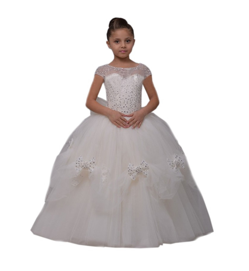 New beaded tulle cap sleeve flower girl dresses girls graduation gowns children bow puffy first communion dress girls ball gown new white ivory flower girl dresses for wedding 3d flowers puffy tulle with big bow girls first communion gowns
