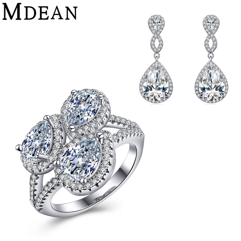 MDEAN white gold plated Jewelry Sets for women vintage CZ diamond jewelry wedding ring earrings pendant