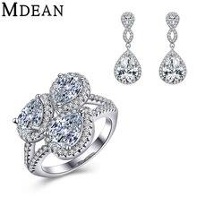 MDEAN oro blanco plateó Sistemas de La Joyería para las mujeres vintage CZ diamond anillo de bodas de la joyería + pendientes + colgante de Accesorios de Moda conjuntos