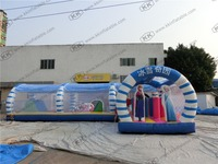 Giant White And Blue Ice World Inflatable Sports Obstacle For Sale