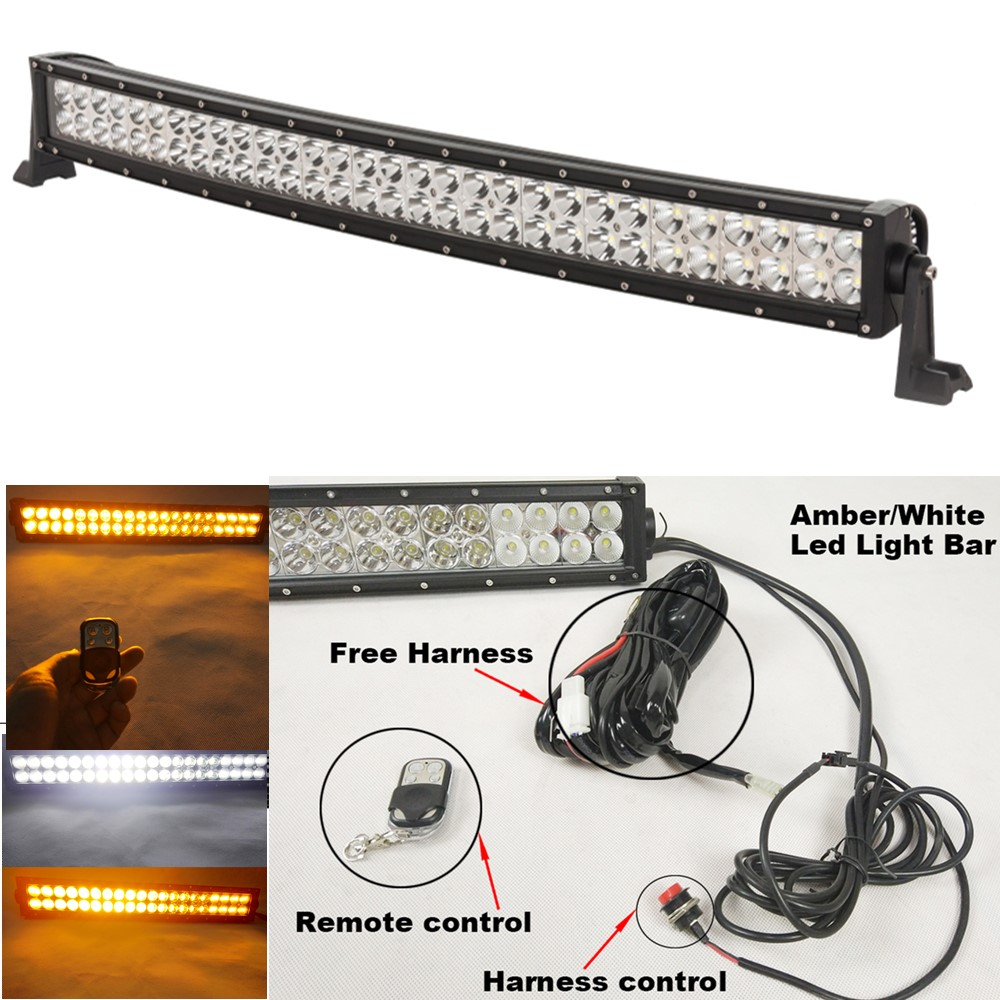 Us 118 19 11 Off 32inch 180w Led Light Bar Wireless Remote Control Amber White Work Driving 4x4 Offroad Bar 12v 24v Warning Flash Lights In Light
