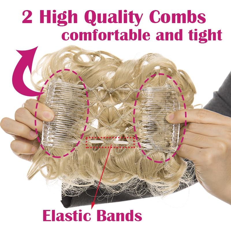 HTB1nU6ROlLoK1RjSZFuq6xn0XXa3 - S-noilite Hair Bun Clip in Hair Extension 2 Plastic Comb Curly Hair Chignon Synthetic Hair Messy Chignon For Women Wedding