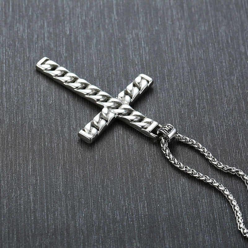 ZORCVENS 2019 nowy srebrny kolor mężczyzna krzyż łańcuch wisiorek naszyjniki ze stali nierdzewnej Colar Masculino modlitwa biżuteria