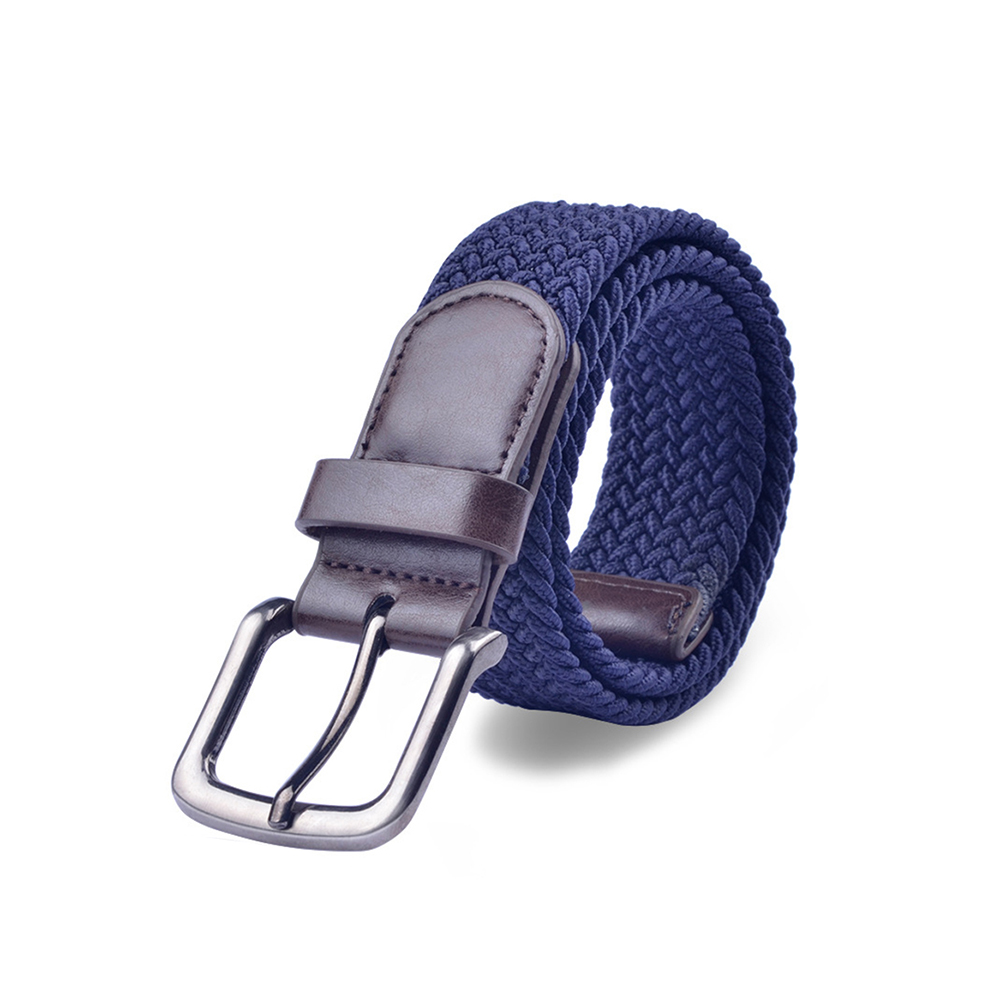 New fashion men's canvas high-end classic casual metal buckle with woven belt non-porous stretch durable woven elastic waistband
