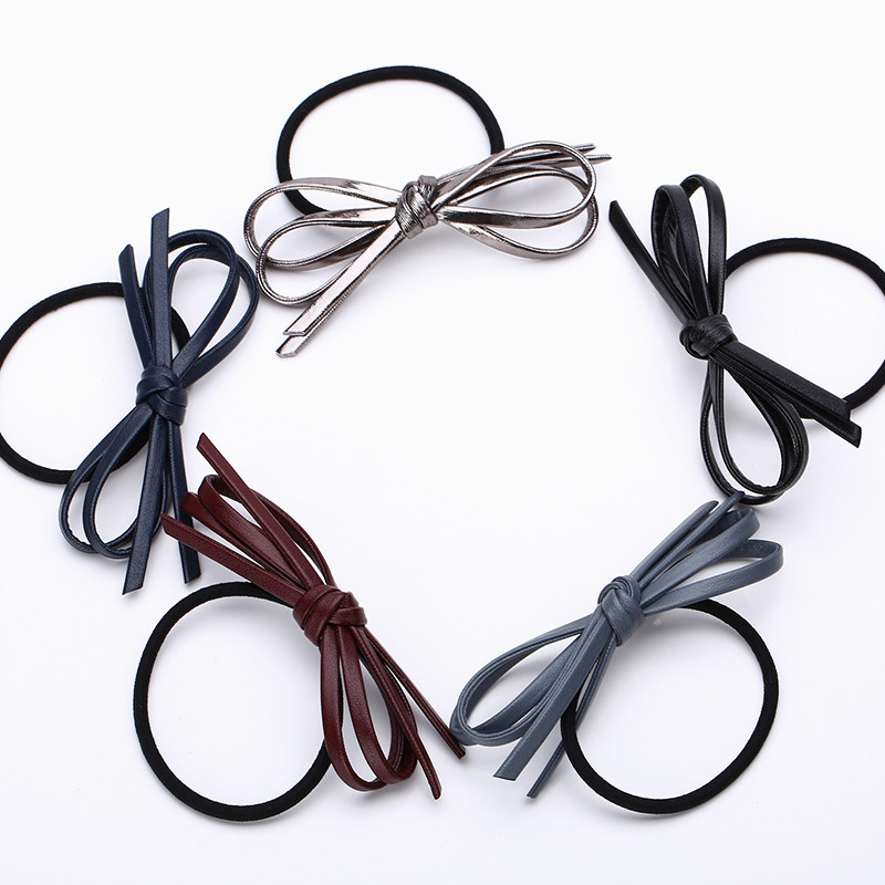 2pcs/lot New Spring Hair Accessories Bow Tie Elastic Hair Bands Ring Rubber Band for Women & Girl Headdress Hair Jewelry new 10pcs women lady hair band velvet elastic ponytail tie bow rubber bobbles lovely