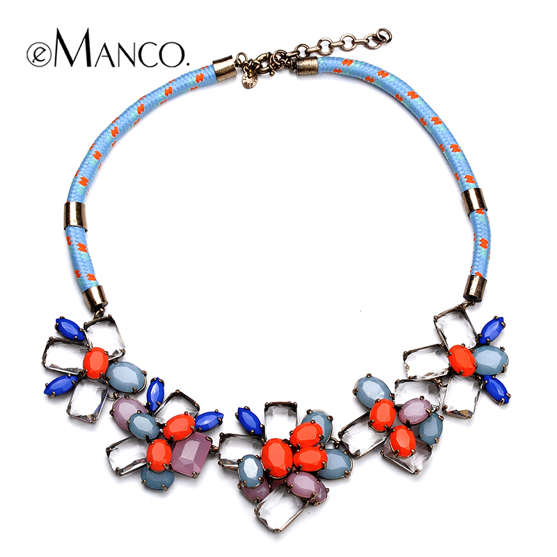 eManco Acrylic flower necklace charming crystal inlaid for women Spring rope chain short necklace luxury style NL09688 fashionable women s sexy style necklace w crystal inlaid golden
