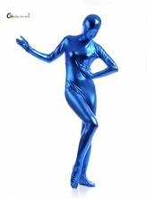 2017 Shiny Lycra Spandex Shiny Lake Blue women's Unitard Catsuits Metallic Footed Zipper Zentai Bodysuit