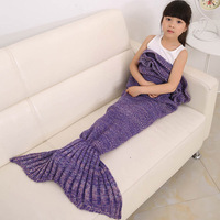 140X70cm Baby Knitted Mermaid Tail Blanket Super Soft Sleeping Bed Handmade Crochet Anti Pilling Portable Mermaid