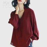 Ladies mulberry silk tops and blouses ruffled V Neck collar front button design silk shirt roupa camisa blusa feminina LT2087
