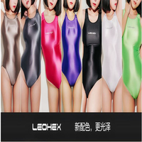 DROZENO Sexy swimsuit woman shiny smooth one piece bodysuit Cosplay competitive swimsuit LEOHEXShiny Bathing Suits Female Swimer