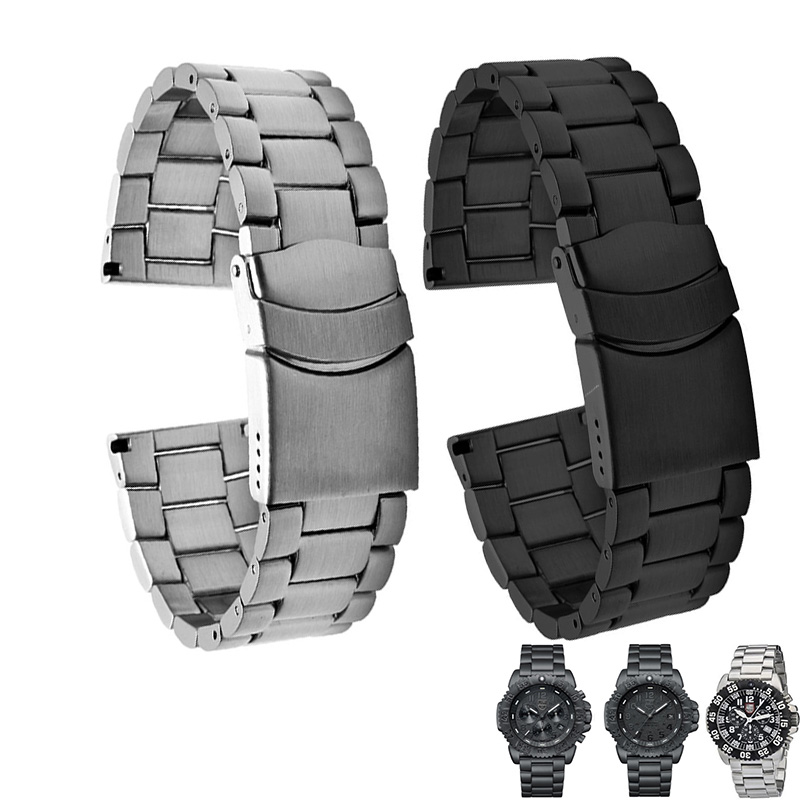 Shengmeirui Solid Stainless Steel Watch Band FOR Luminox 3050 3051 3080 3150 8800 23MM Silver Black Double Safety Buckle