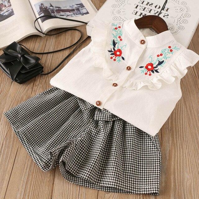 158e0859a Hurave 2 piezas niños bordado arco botón verano Niñas Ropa conjuntos niños  sólido Camisa + arco