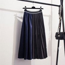 купить Retro Ruffled Stitching Contrast Pleated Skirt European American Fashion Color Matching High Waist Irregular Large Swing Skirt в интернет-магазине