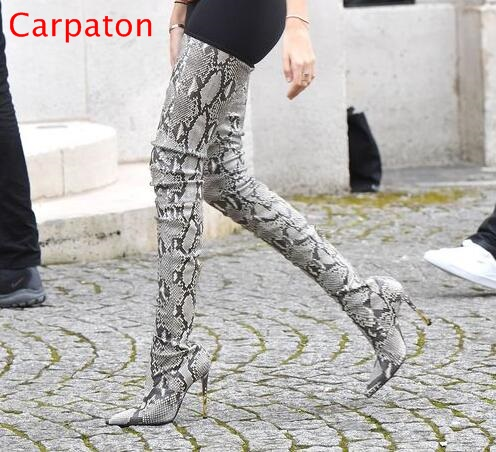 Sexy Snakeskin Women Boots Python Leather High Heel Over The Knee Boots Pointed Toe Tight High Boots Winter Shoes Real Photo name brand pointed toe high heel women winter boots fashion custom over the knee women leather boots size 34 to 42 free shipping