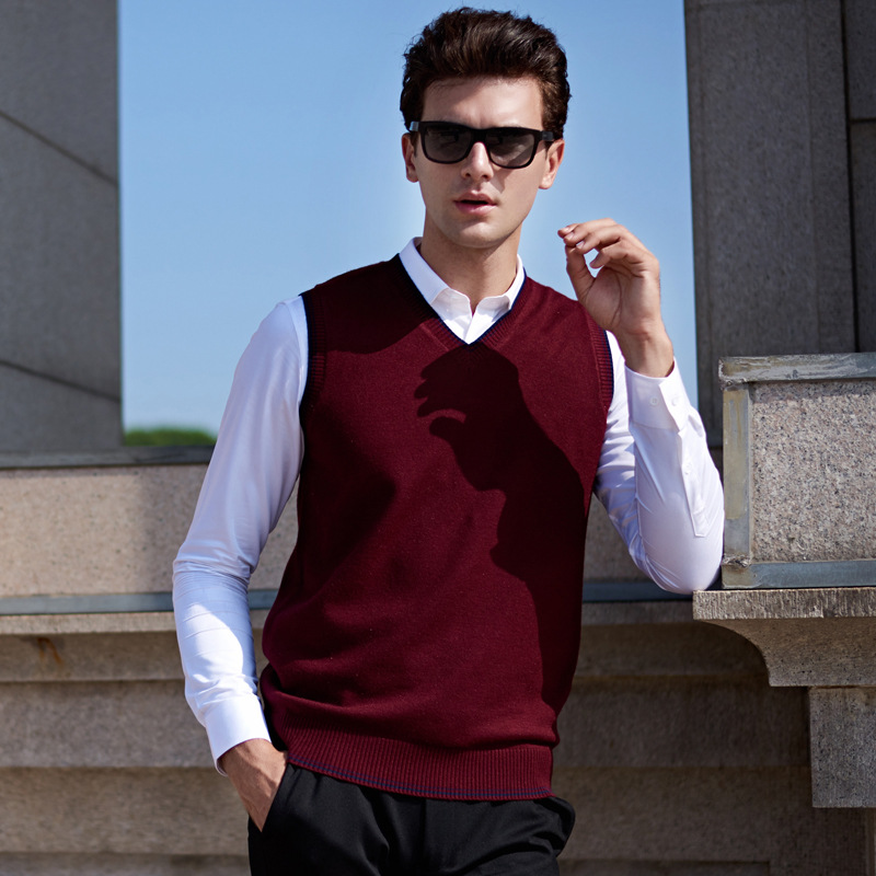 Chalecos Hombre Invierno 2018 Classic V-neck Collar Sleeveless Male Sweater Vest Knitwear Silm Fit Casual Pullover Vests For Men