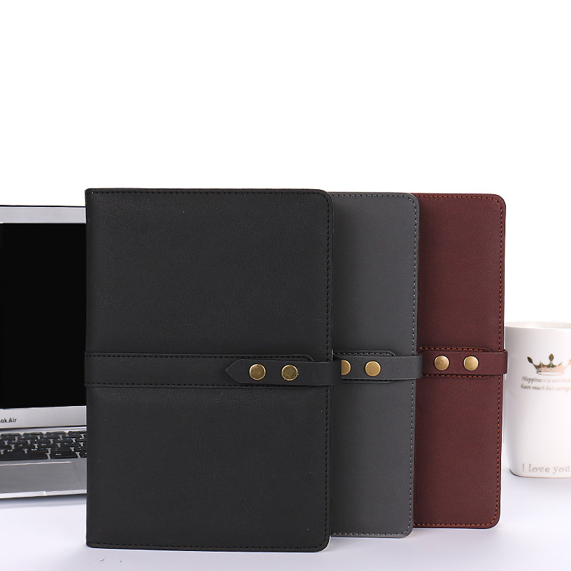 Business A5 Notebook Conference 100 Sheets Notepad Hardcover Faux Leather College <font><b>Rule</b></font> Notebooks with Retro Snap <font><b>Pen</b></font> Slot image