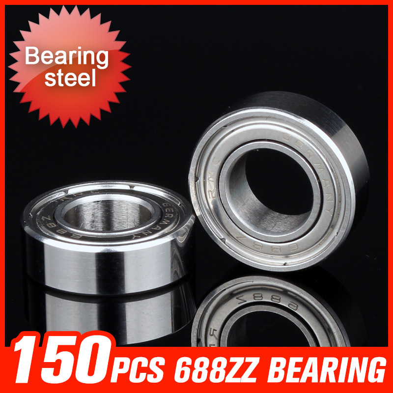 150pcs 688ZZ Bearing 16x8x5mm Deep Groove Ball Bearings For Medical Car Bed Beverage Machinery Hardware Tool Accessories