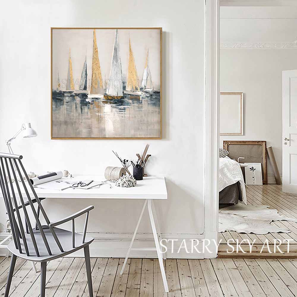 Image 2 - Skilled Artist Hand painted High Quality Golden Foil Abstract  Boats Oil Painting Wall Fine Art Abstract Landscape Boats  PaintingPainting