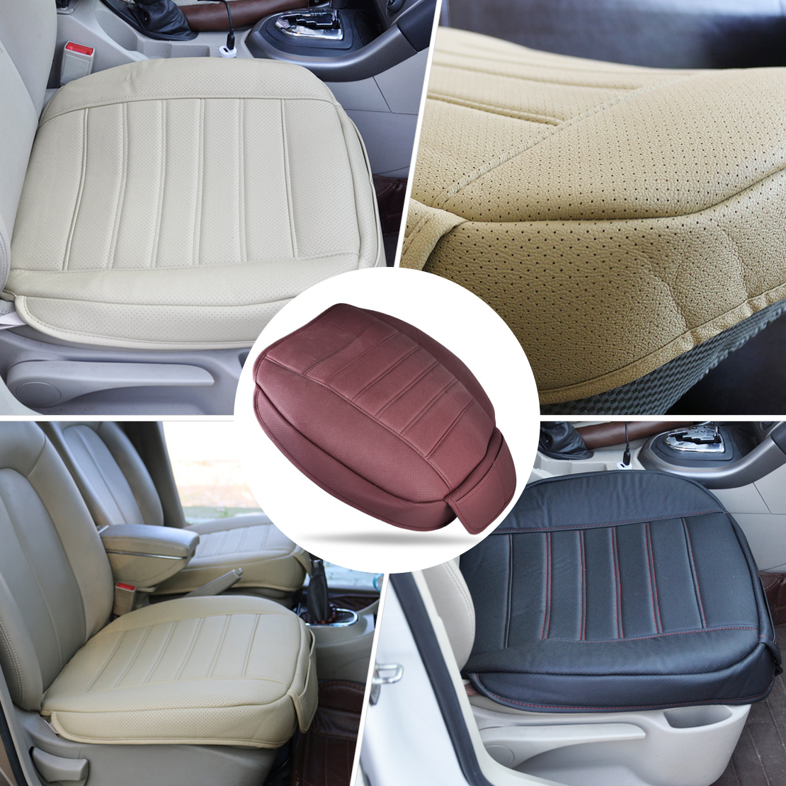 dwcx new universal pu leather car interior front seat cushion cover single seatpad for vw golf. Black Bedroom Furniture Sets. Home Design Ideas