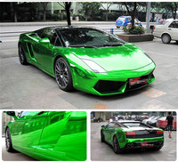 High Glossy Green Strechable Chrome Vinyl Car Wrap Sticker With Air Bubbles Flexible Chrome Mirror Vinyl Sticker Decorative Film