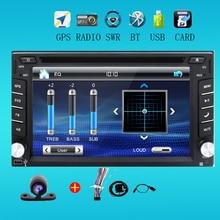2 din Radio de Coche universal monitor Reproductor de DVD Auto GPS USB En tablero PC Del Coche de vídeo Estéreo RDS de dirección Unidad Principal + Libre de la Cámara Para VW