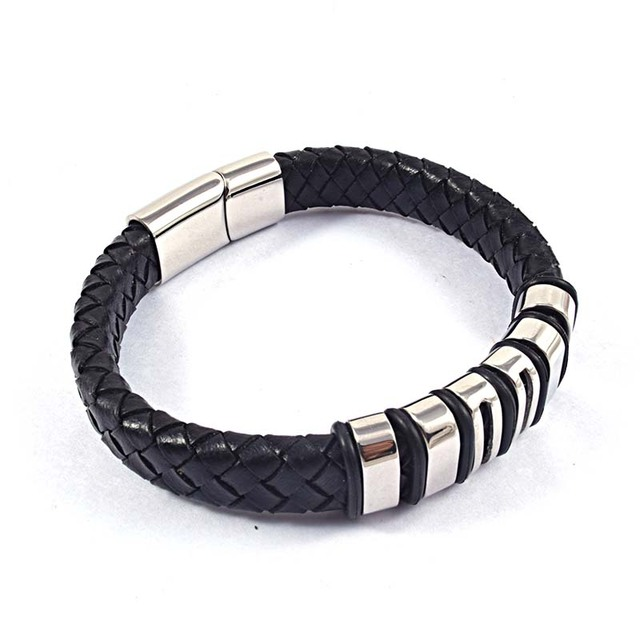 Fashion Men's High Quality Silver Stainless Steel Charm Magnetic Clasp Braided Cuff Leather Bangles Bracelets Jewelry Gift
