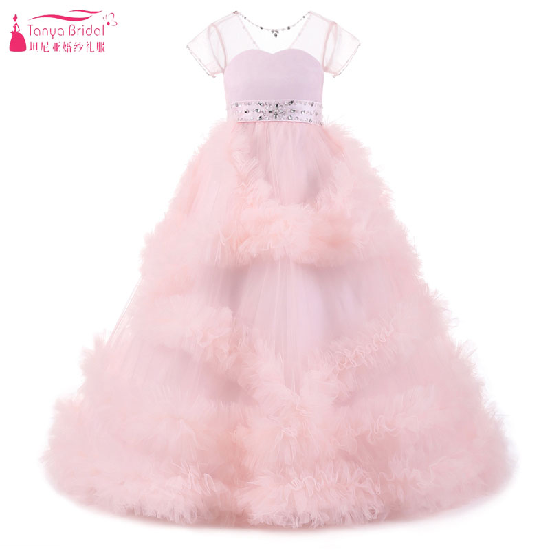Pink Princess   Flower     Girls     Dresses   For Wedding 2018 Stunning Puffles Elegant Birthday Perform Gowns Pageant   Dress   ZF072