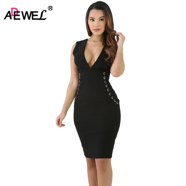 ADEWEL Simple Women Short Little Black Dress Sexy V Neck Bodycon Dress  Knee-Length Lace Up Both Side Club Party Dress d3de22ec0