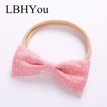 1PCS Cotton Linen Knot Bows Nylon Headbands,Super Soft Skinny Head Bands With Hand Tie ,Star Print Baby Girls Hair
