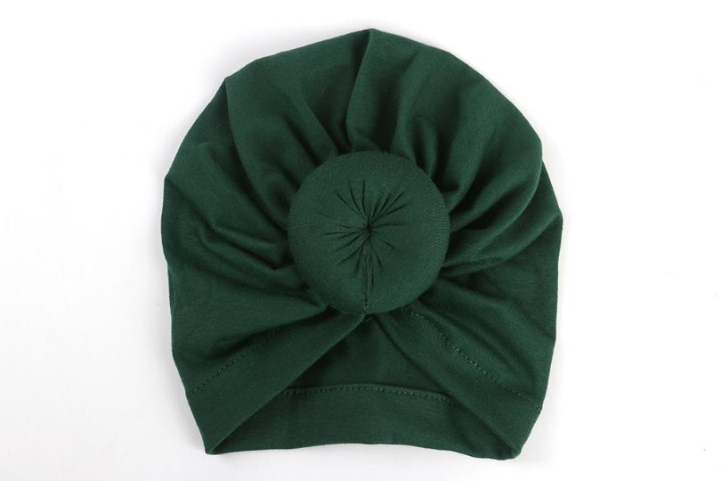 Коллекция года, Детские аксессуары для новорожденных, малышей, детей, малышей, маленьких мальчиков и девочек, тюрбан, хлопковая шапка, зимняя теплая мягкая шапка, одноцветные, с узелком, мягкая шапка - Цвет: Dark green