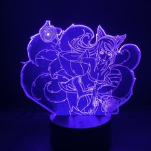 League of Legends Hero Ahri Lore The Nine Tailed Fox 3d Led Night Light Color Changing Usb or Battery Powered Table Lamp LOL unknown folk lore and legends scotland
