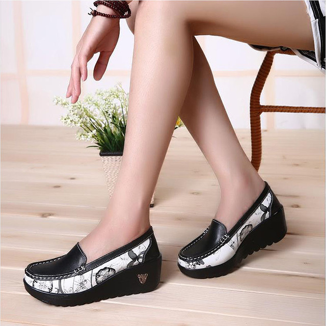 Female Swing Shoes casual loafers Platfor Women's fashion Pumps Shoes patchwork wedges Heel Shoes Spring Autumn boat Shoes