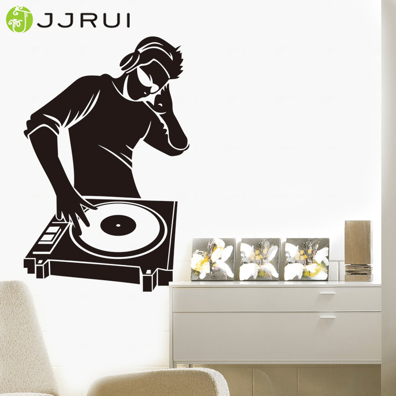 Jjrui wall stickers vinyl decal electronic music headphones dj cool stickers boys bedroom decal wall sticker in wall stickers from home garden on